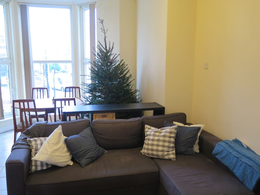Very comfortable sofa which folds out for a generous 3rd double bed. Xmas tree winter only!