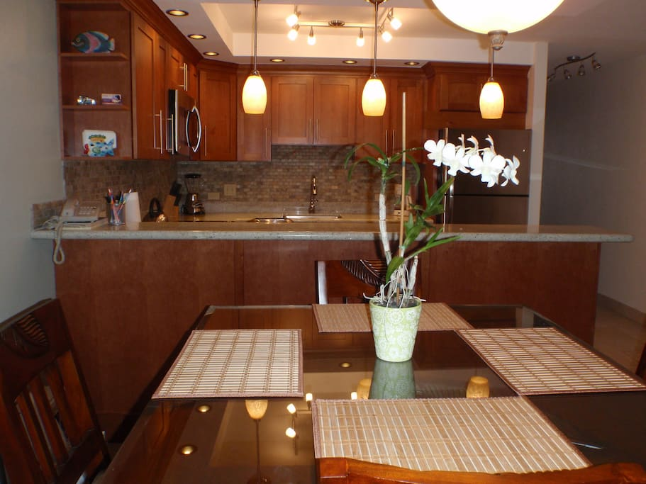 Dine in - the kitchen is fully equipped with everything you need