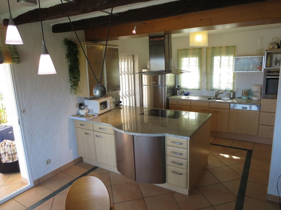 Fully equipped open space kitchen with Dishwasher, Oven, Microwave