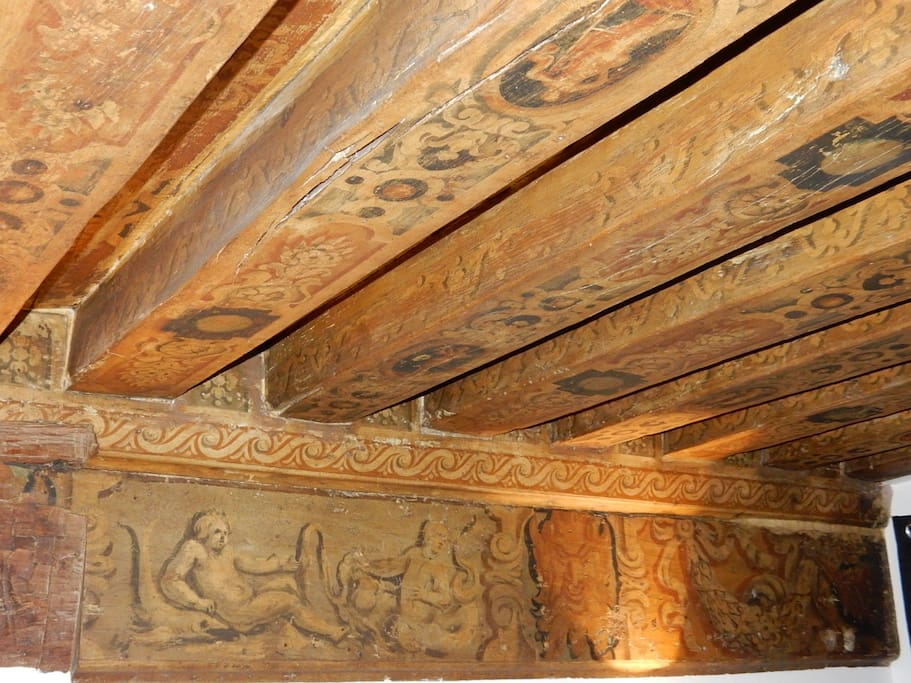 Painted beams on the first floor: Celling from 17th centurey