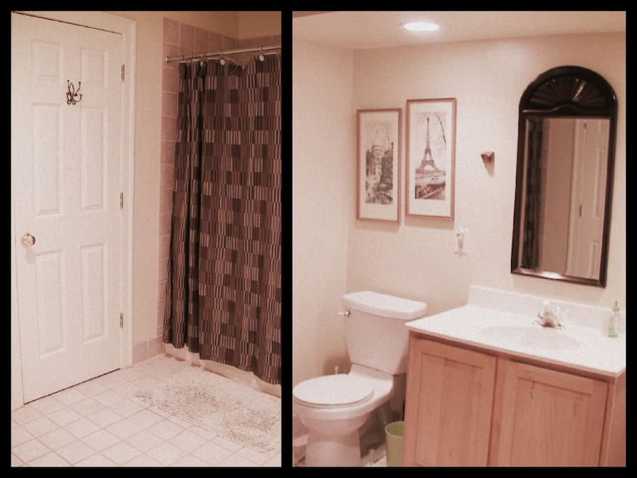 The large bathroom, complete with full bathtub and extra closet space