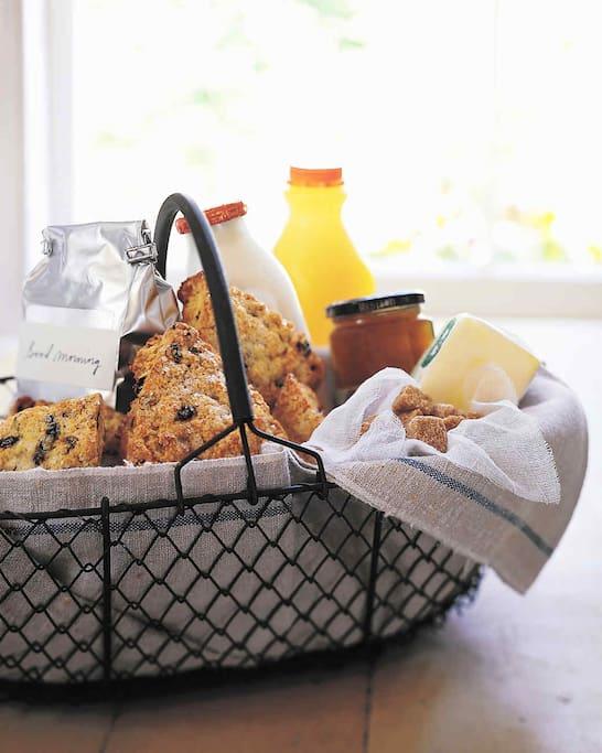 Enjoy FREE Coffee & Blueberry Scones, Eggs & Bacon for Breakfast