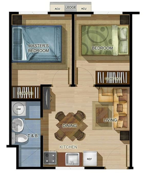 Floor plan of the unit. Note: the other bedroom is converted into a lounge with sofa bed. A new photo will follow later.