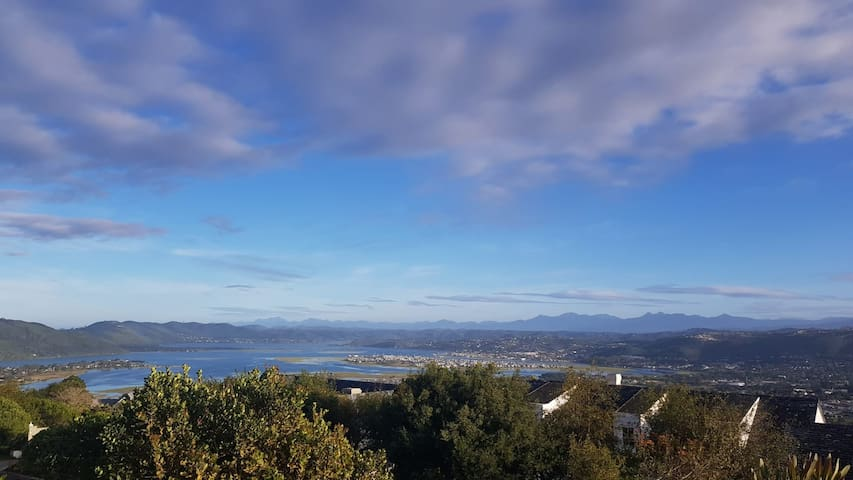 View of the stunning Knysna lagoon and Outeniqua mountain range from the main houses's deck.