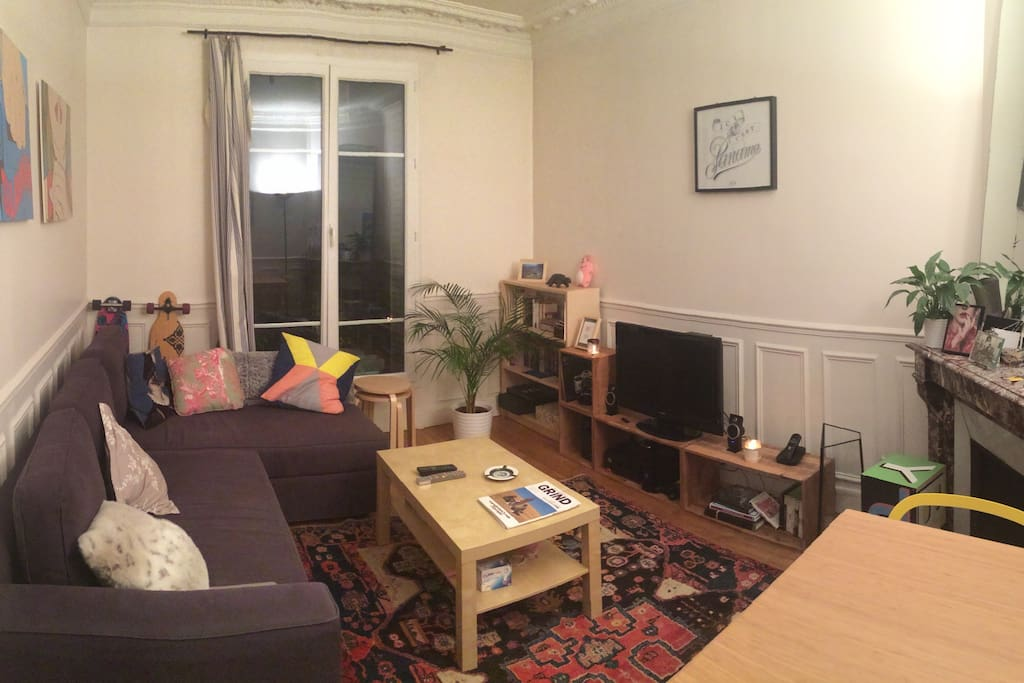 A panoramic view of the living room