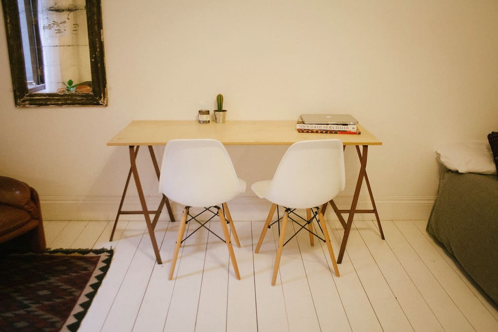 Dining table / desk with Eames chairs
