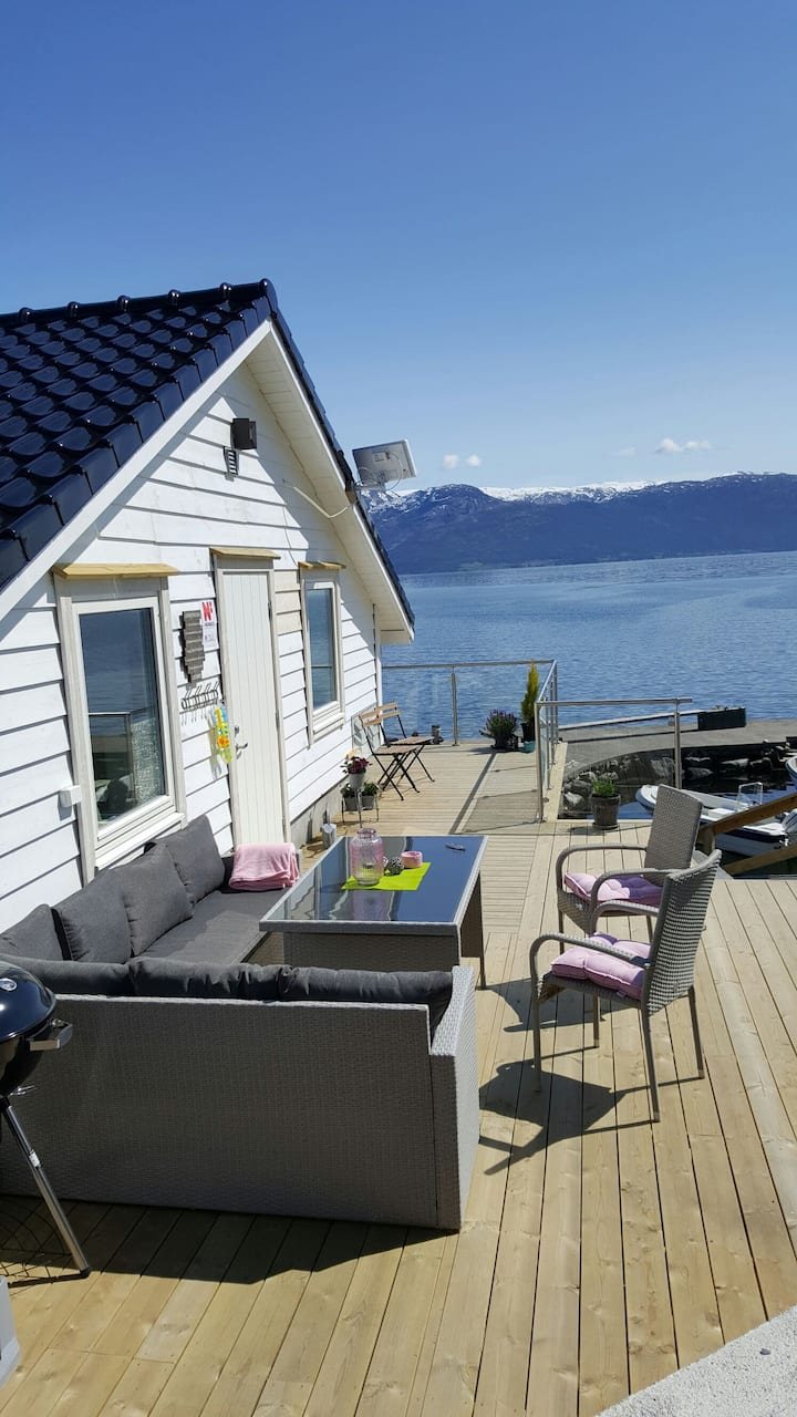 Boat house by the sea, Strandebarm in Hardanger