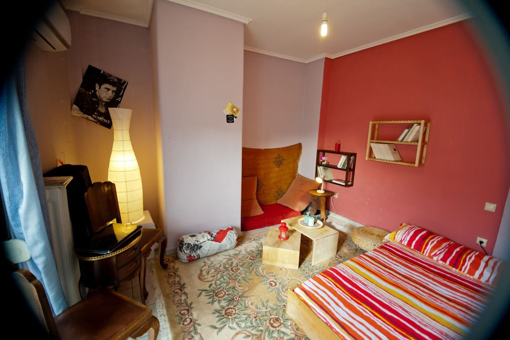 the comfy and poofy bedroom...the bed has been replaced from a 40cm. wider one,same style,and now its super DOUBLE..:)