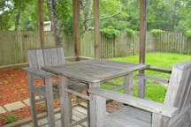 Screen porch seating and privacy fenced yard.