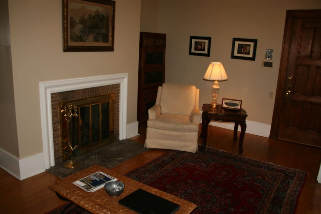 Living Room fireplace in what was originally Mr. Miner's Library-Study.