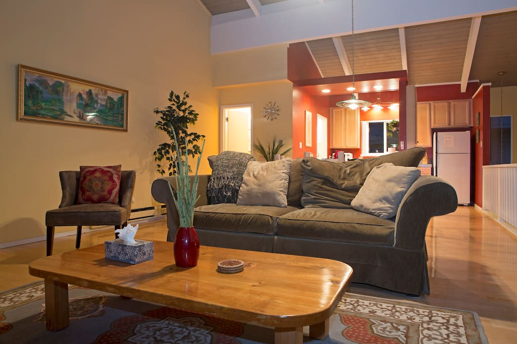 Family room with view of Kitchen