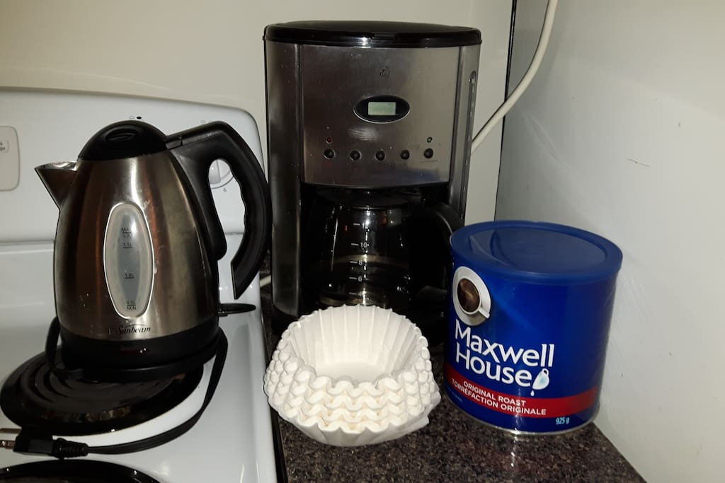 Coffee maker, coffee, and kettle for  tea