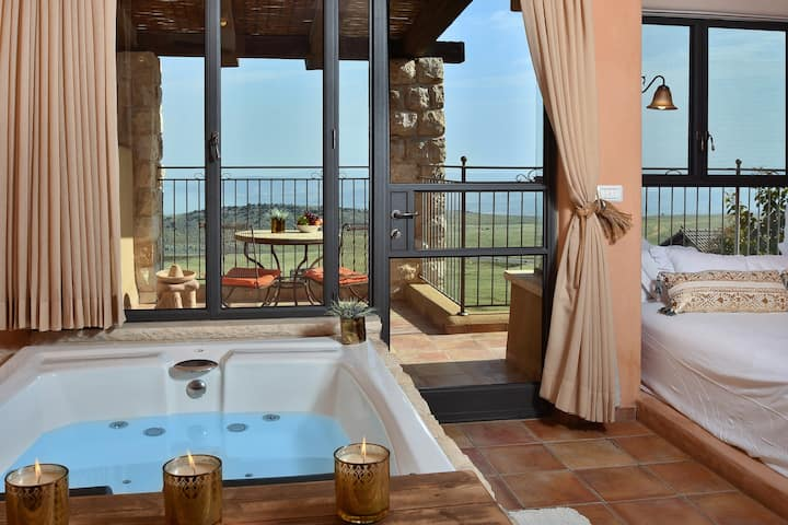Vegan suite - veiw of the Sea of Galilee and Golan