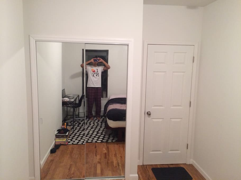 Full length mirror and full closet