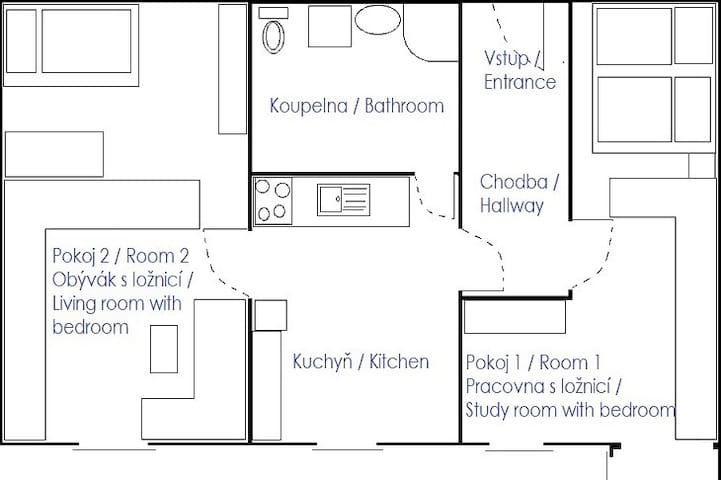 Plan of my whole apartment. For your needs is important Room 1.
