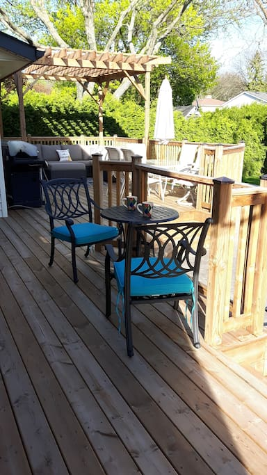 Enjoy coffee on the deck