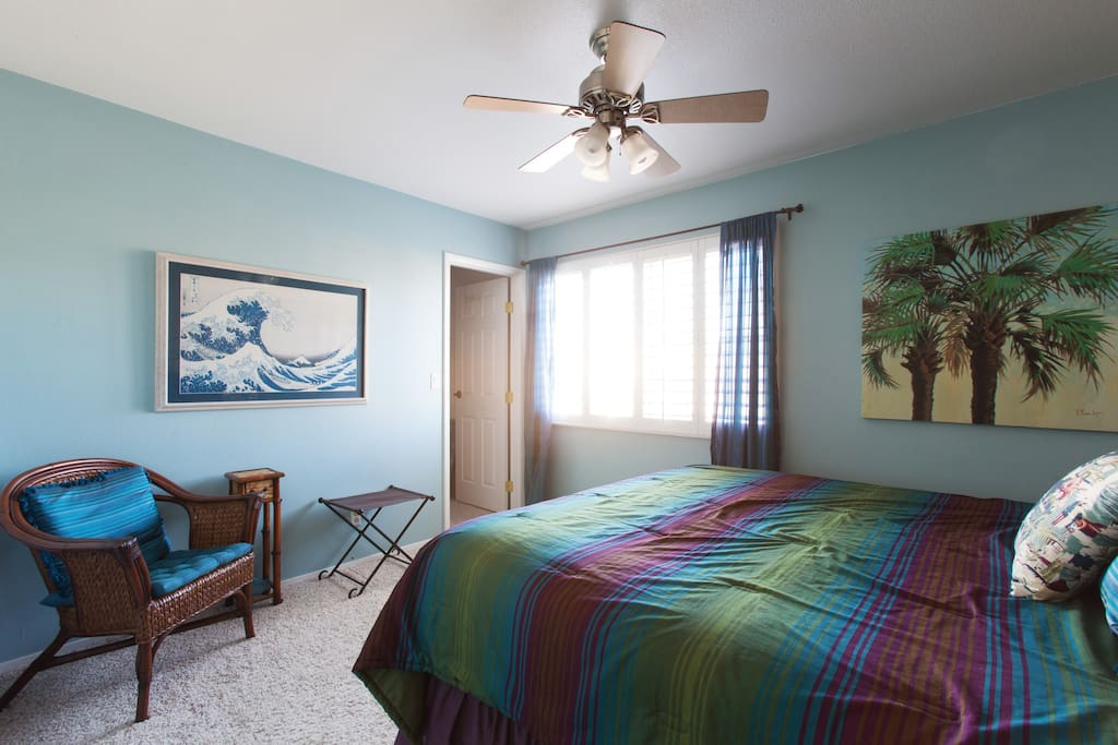 Western king bed, ceiling fan & walk in closet. This room has a TV w/DirecTV now.
