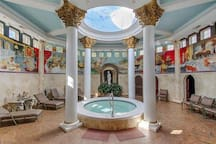 Your own world class spa with hot tub, cold dip waterfall, massage therapy room, vichy shower room, sauna, 6 showers, lockers and dressing area, etc.
