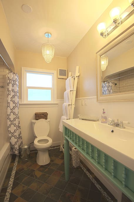 Character bathroom with brand new fixtures and updated plumbing