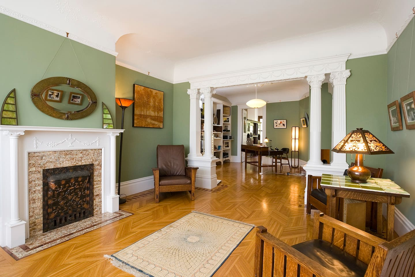 Living Room with Inlaid floors, tile fireplace, Stickley Arts and Crafts Furniture