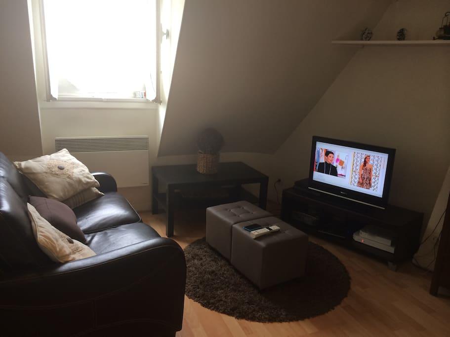 Salon équipé d'une télévision et d'une box internet