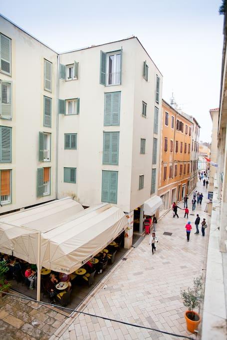 Terrace view at main street of Zadar