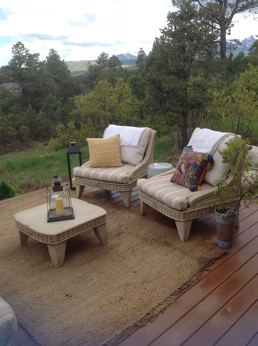 Back Deck- off living room-great sunset & mountain views!