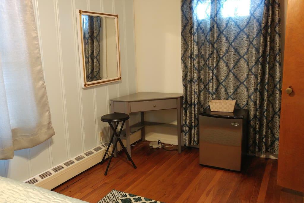 Corner desk and personal fridge