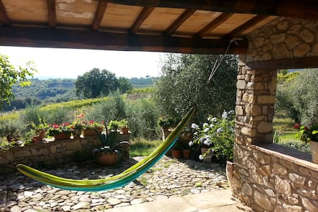 A bright, spacious and very comfortable house (140 square meters) for 1-5 persons in a stunning Italian setting. The house has a large terrace, surrounded by 1 hectare privately owned land with olive and vineyards. Six miles from the highway.