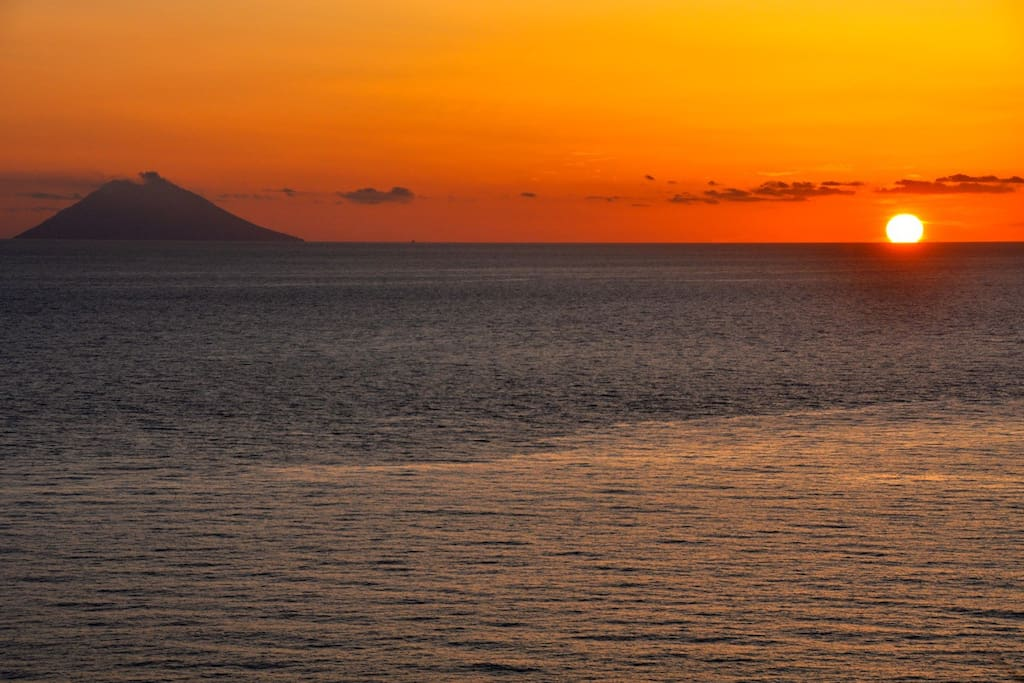 Sunset with Stromboli- from the terrace