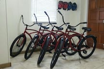Four new cruiser bikes are always at the home for guest to enjoy.