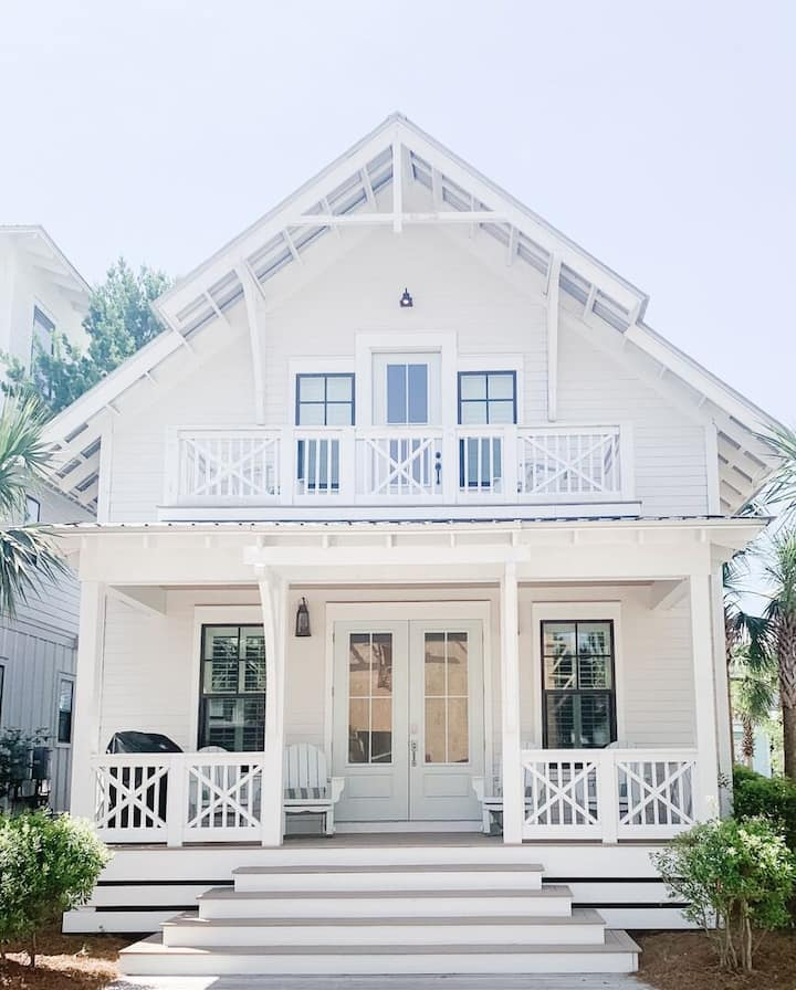 Steps From the Largest Pool on 30A, This Stunning Seacrest Beach Home Sleeps 8.