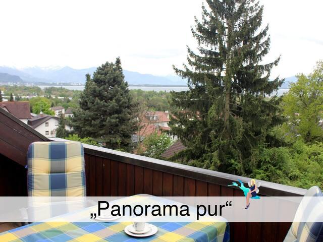 Gemütlich, in ruhiger Lage mit Loggia in Lindau, Blick auf Lindau und die Berge