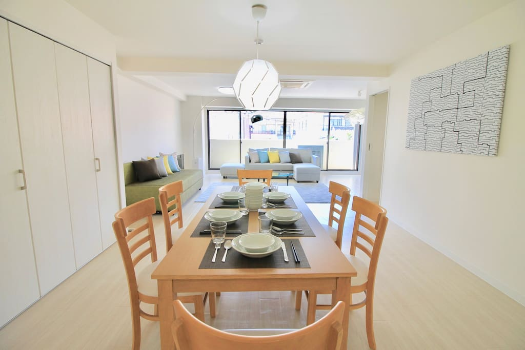 Large dining table provides your meals