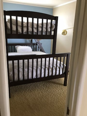 Bunk beds:  twin size on top and full size bed on the bottom (sleeps three).