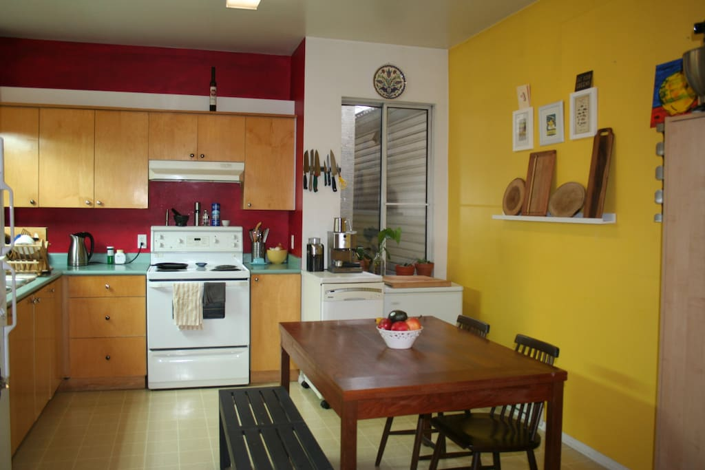 Huge, well-equipped kitchen. (Kitchen is now white and blue!)