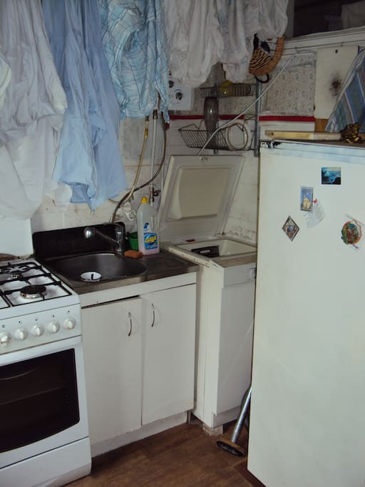 kitchen appliances: with water-heater and washing machine
