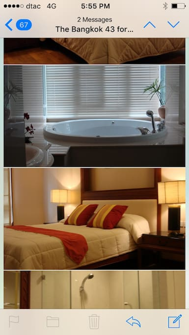 Top : A private Jacuzzi in the master bedroom. Bottom : A queen size bed in the second bedroom.