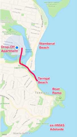 Location of the Drop-Off in relation to the Terrigal restaurant precinct