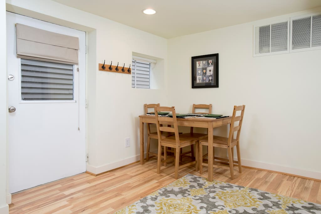 Dining table can pull out if you would like to host friends. Floors are new in 2015.