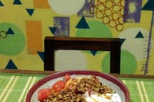 """Seasonal fruit, yogurt, local honey and our homemade granola. """"Erin prepares delicious breakfasts from fresh, local ingredients and the coffee is great."""" --Evan"""