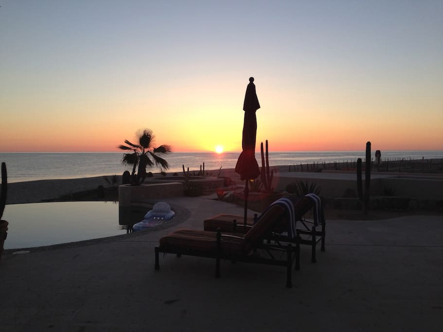 sunrise at the pool