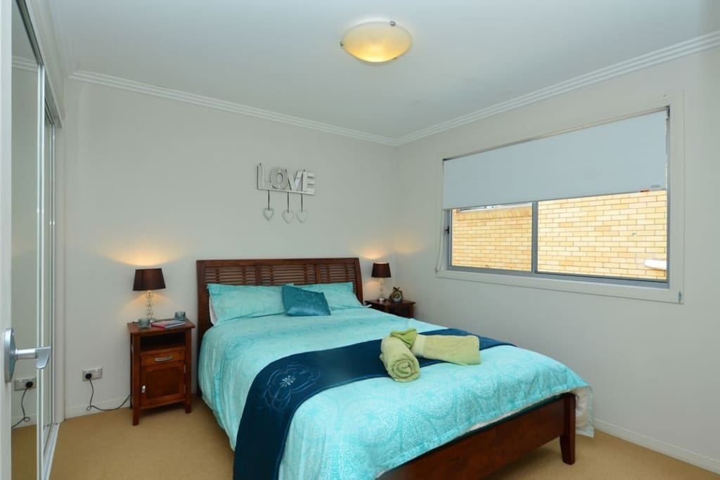 Your bedroom consists of a deluxe Queen size bed, full hanging wardrobe and draws. There is room in the room :-)