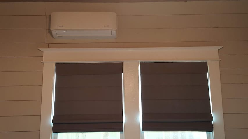 For your Covid safety, each room has it's own (Silent) Air Conditioning/Heating system, that comes in fresh from the outside and is not recirculated from other areas of the house.