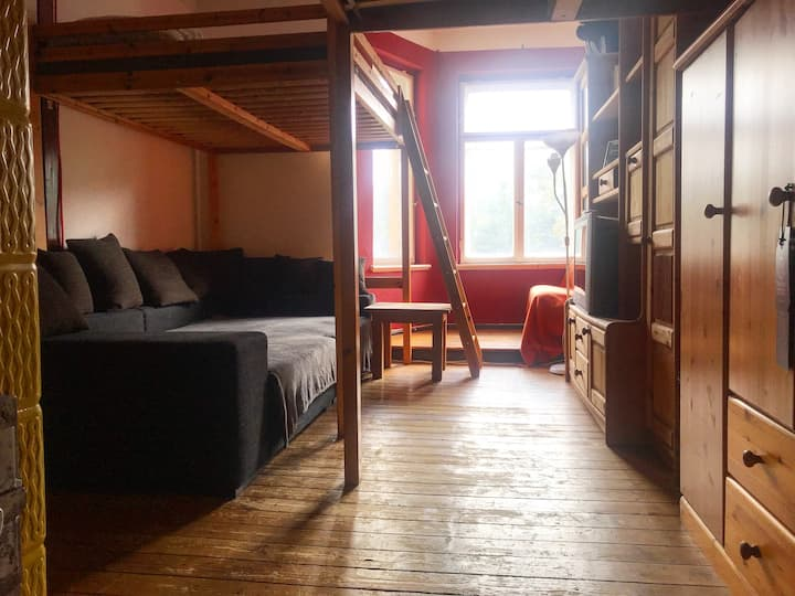 Rustic room with two loft beds at the campus