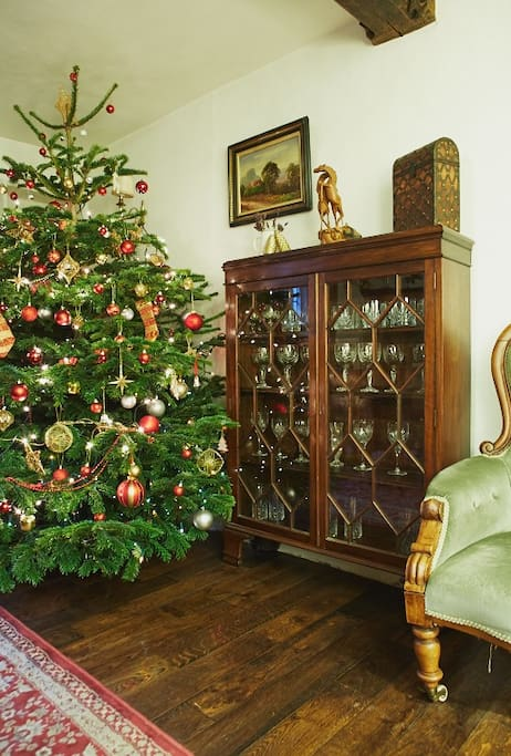 Fully decorated for Christmas bookings including a real tree