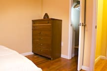 Plenty or space in the closet an 2 big dressers to put your stuff away and feel at home.