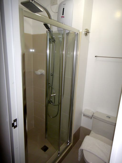 rain shower and water heater for a nice warm bath