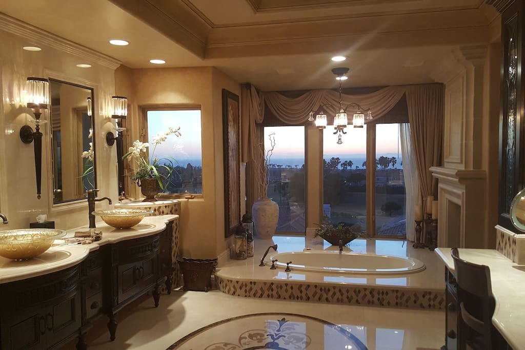 Master bath with ocean, golf, lake views. Your own private and personal spa!
