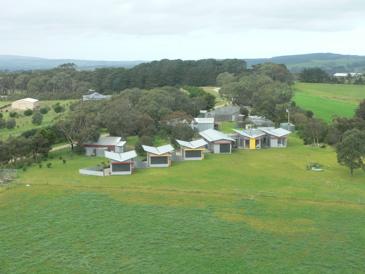 Lush Pastures from a chopper which lands in front of your Lodge to take you on a flight.